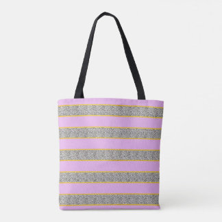 Pink and Dotty Gold Stripe Tote