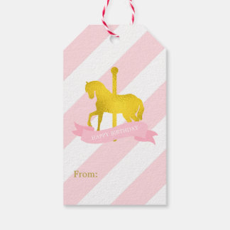Pink and Faux Gold Foil Carousel Horse Pack Of Gift Tags