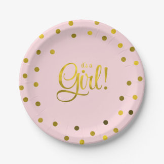 Pink and Faux Gold Foil Girl Baby Shower Paper Plate