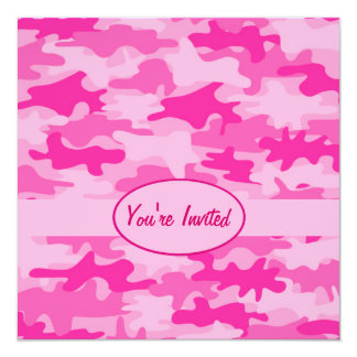 Pink and Fuchsia Camo Camouflage Party Event Card