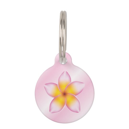 Pink And Girly Frangipani Flower With Dog's Info Pet Name Tag