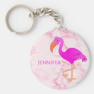Pink and girly tropical flamingo on pink marble keychain