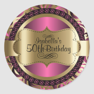 Pink and Gold Abstract Birthday Round Sticker
