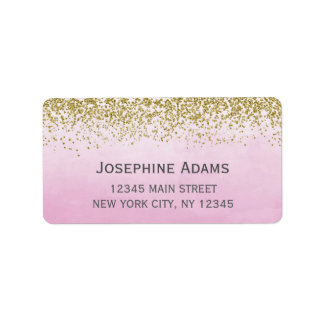 Pink and Gold Address Labels