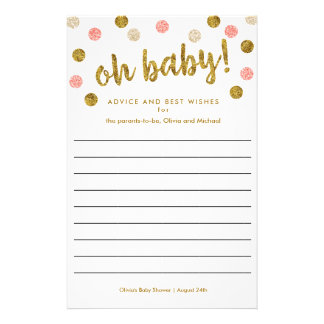 Pink and Gold Baby Shower Advice and Wishes Flyer