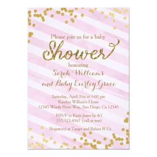 Pink and Gold Baby Shower Invitation