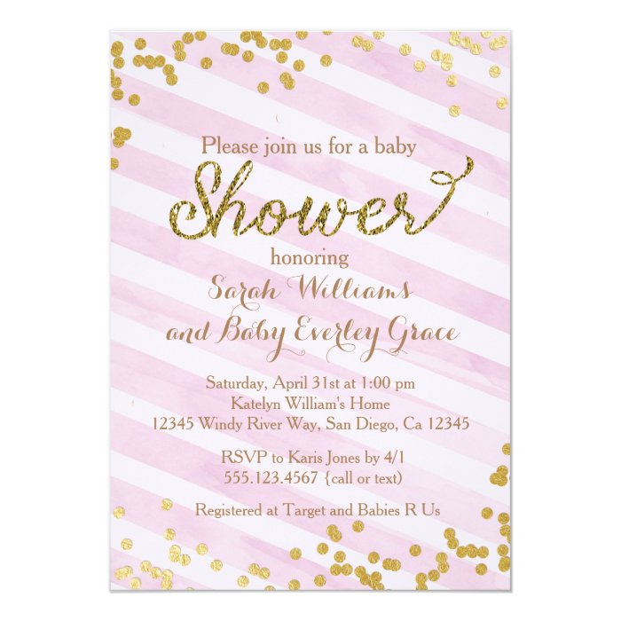 pink and gold baby shower invitation zazzle