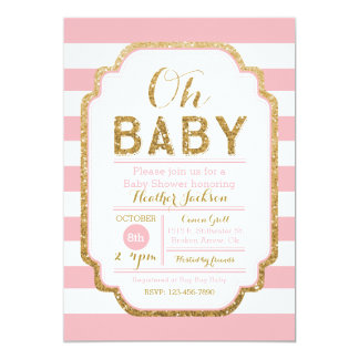 Pink And Gold Baby Shower Invitation, Baby Girl Card