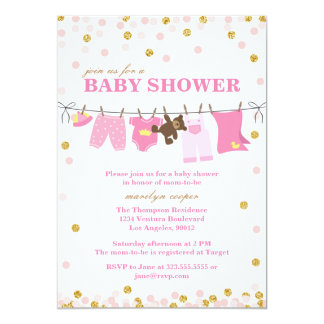 Pink and Gold Baby Shower Invitations