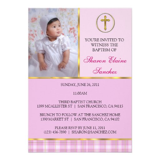 Pink and Gold Baptism/Christening Invitation