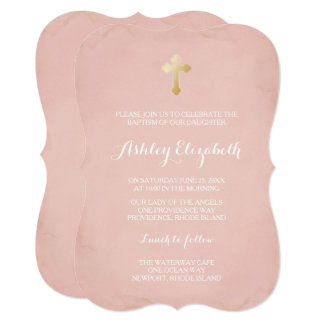 Pink and Gold Baptism Invitation ~ Faux Gold