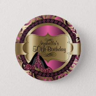 Pink and Gold Birthday with Leopard High Heels 2 Inch Round Button