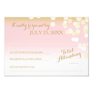 Pink and Gold Bokeh Effect RSVP Card
