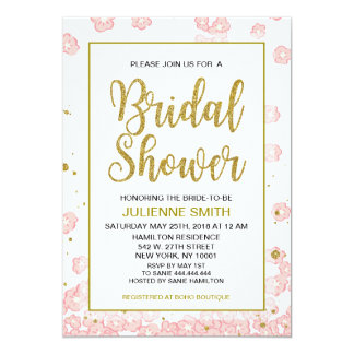Pink and Gold Bridal Shower Glitter Invitations