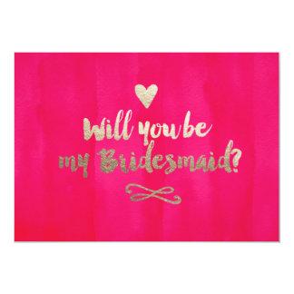 """Pink and Gold Bridesmaid Card 5"""" X 7"""" Invitation Card"""