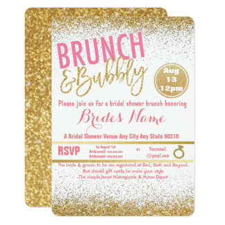 Pink and Gold Brunch & Bubbly Bridal Shower Card