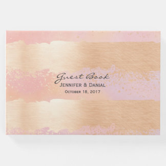 Pink and Gold Brush Strokes Wedding Guest Book