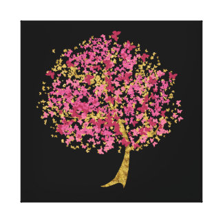 Pink and Gold Butterfly Tree Canvas Prints
