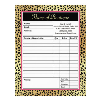 Pink and Gold Cheetah Print Boutique Order Forms Customized Letterhead