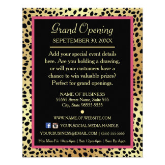 Pink and Gold Cheetah Print Boutique Special Event Personalized Flyer