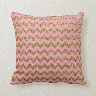 Pink and Gold Chevron Pattern Throw Pillow