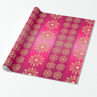 Pink and Gold Circular Pattern Wrapping Paper