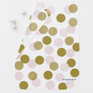 Pink and Gold Confetti Bokeh Pattern Personalized Baby Blanket
