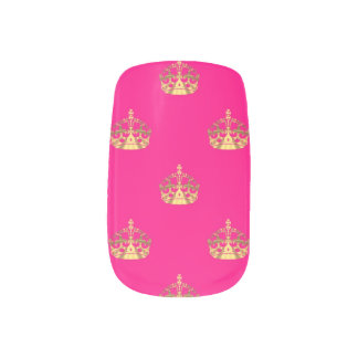 Pink and gold crown pattern minx ® nail art