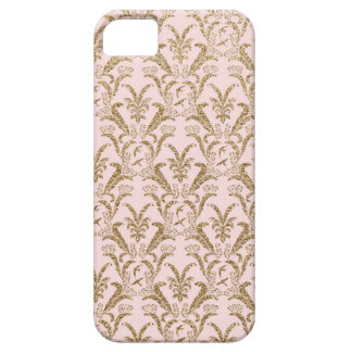 Pink and Gold Damask Pattern Case For The iPhone 5