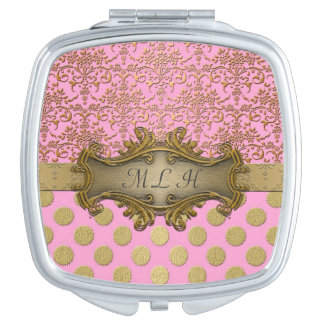 Pink and Gold Damask Pattern with Initials Vanity Mirrors