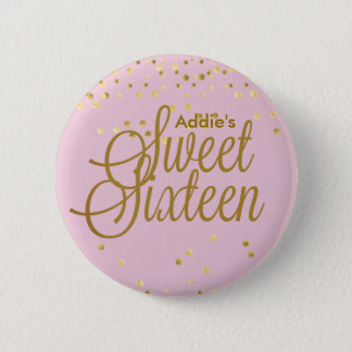 Pink and Gold Dot Sweet Sixteen Button