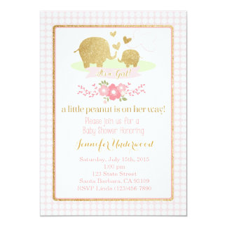 Pink and Gold Elephant Baby Shower Invitation