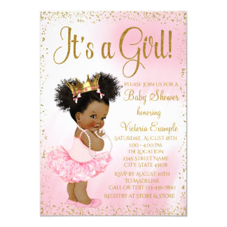 Pink and Gold Ethnic Princess Baby Shower Card