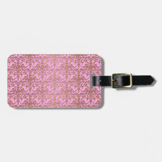 Pink and Gold Fancy Damask Pattern Bag Tags