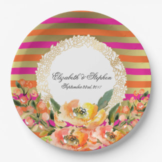 Pink and Gold Faux Gold Stripes w/ Florals Wedding Paper Plate