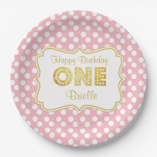 Pink and gold first birthday plates 9 inch paper plate