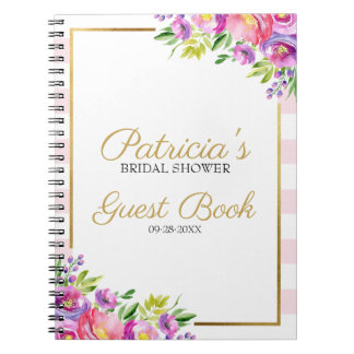 Pink and Gold Floral Bridal Shower Guest Book