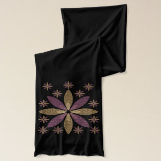 Pink and Gold Floral Design Scarf