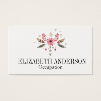 Pink and Gold Floral, Feathers, and Gems Business Card