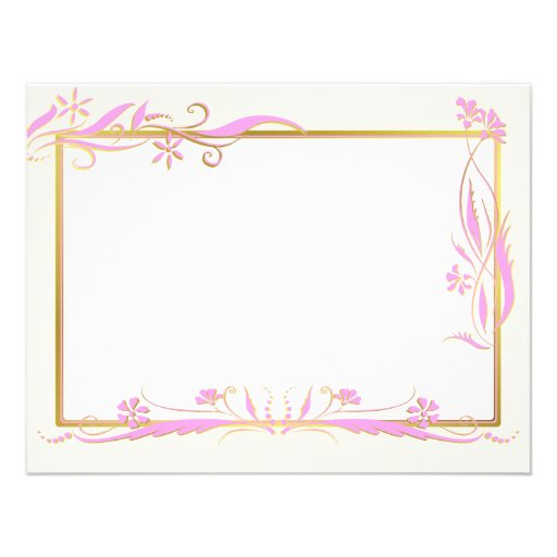 Pink and gold floral ornament personalized invitation