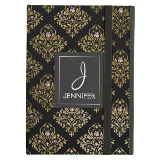 Pink and Gold Floral Pattern Elegant Monogram Case For iPad Air
