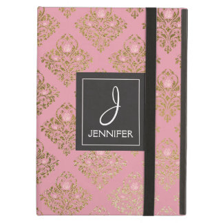 Pink and Gold Floral Pattern Elegant Monogram iPad Air Case