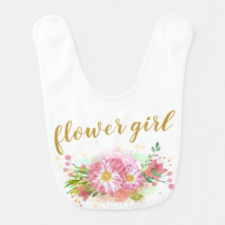 Pink and Gold Flower Girl Bib