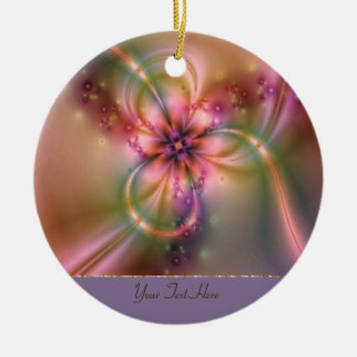 Pink And Gold Flower Round Ceramic Ornament