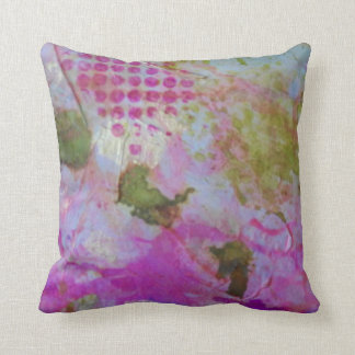 Pink and gold foil abstract art pillow