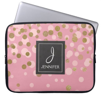 Pink and Gold Foil Confetti Elegant Monogram Laptop Sleeve