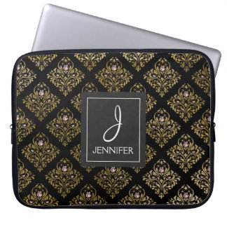 Pink and Gold Foil Floral Pattern Elegant Monogram Laptop Sleeve