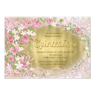 """Pink and Gold Foil Floral Quinceañera 4.5"""" X 6.25"""" Invitation Card"""