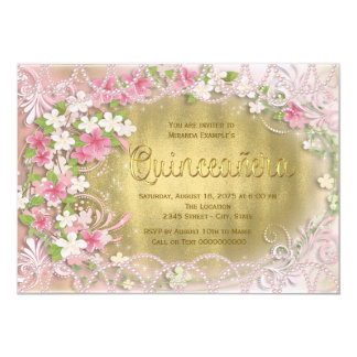 """Pink and Gold Foil Floral Quinceañera 5"""" X 7"""" Invitation Card"""