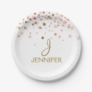 Pink and Gold Foil Girly Confetti Monogram Paper Plate